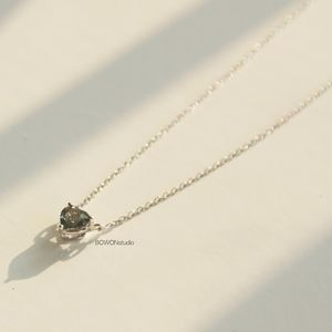 Green sapphire heart shaped 14k gold necklace